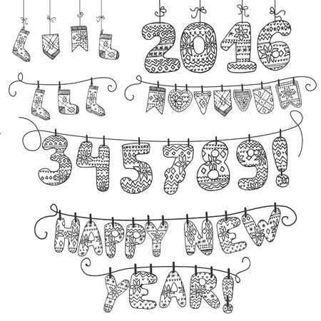 rope folk: New year 2016.Christmas Linear doodle garland of knitted numbers,letters,socks.Hand draw style.For Design template,card,invitation for advertising,banner,calendar.Vintage vector illustration.Chalkboard Illustration