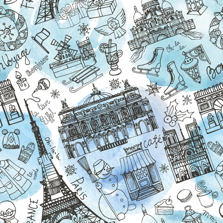 europe vintage: Paris winter seamless pattern.Landmark,lettering set,map.Vintage Hand drawn doodle sketchy,Eiffel tower,holiday symbols.French good travell,hello,fashion.Eiffel tower.Vector Watercolor background