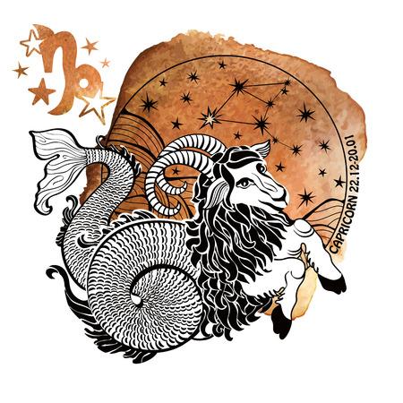 arte greca: Segno zodiacale. Oroscopo costellazione, stelle in cerchio composition.Watercolor spruzzata struttura, pittura a mano art.White background.Symbol, segno di illustrazione vettoriale earth.Artistic.