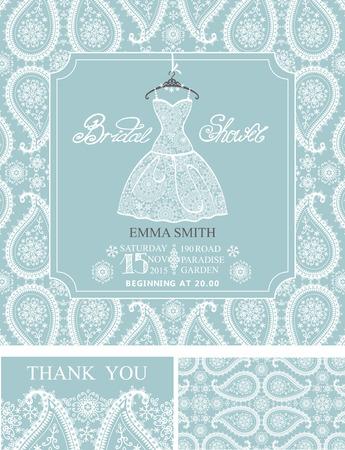 Vestido De Novia De La Boda Invitación De La Ducha Set.Bridal ...