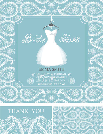 Bridal shower invitation set.Bridal wedding dress,pasley lace pattern,lettering title ,retro design.Winter season save the date card, thank you card.Holiday Vector,fashion illustration