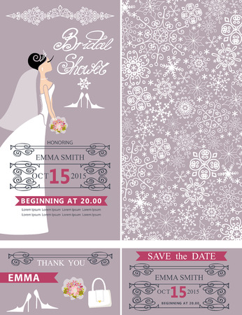 wedding bridal shower invitation setbride in wedding dresssnowflakes lace patternlettering