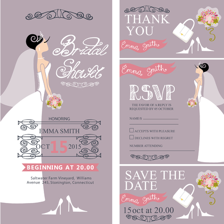 the spouse: Wedding Bridal shower invitation set.Bride in wedding dress ,flowers bouquet, border,frames,lettering,retro design.Save the date card, thank you card,RSVP.Holiday Vector,fashion illustration