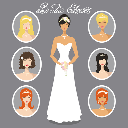 Wedding hairstyle.Lovely  bride female  in different hairstyles.Modern flat vector. Fashion portraits of beautiful girls, one is in wedding dress.Bridal shower design template.Cartoon vector,wedding image look
