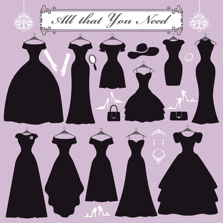 Fashion dress. Different styles of black party dress Silhouette set. Composition  made in modern flat vector style with accessories  decoration,chandelier, swirling frame.Isolated  Illustration.Funeral,mourning