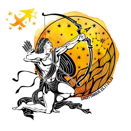 Sagittarius zodiac sign.Horoscope constellation,stars in circle composition.Watercolor splash texture,hand painting art.White background.Symbol,sign of faire.Artistic Vector  Illustration. Vettoriali