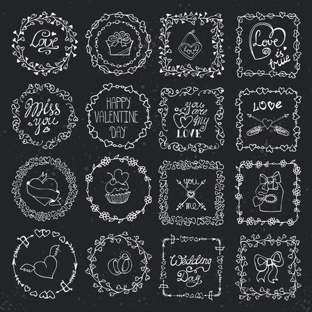 femine: Valentine day,love Hand drawn  frames wreath with symbols and lettering.Romantic heart doodle textures,arrows,swirl ornament.Holiday  Decorative vector set.For birthday,wedding,femine design.Chalkboard