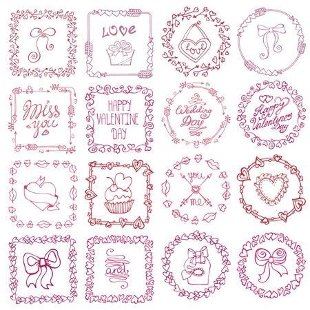 femine: Valentine day,love Hand drawn  frames wreath with symbols and lettering.Romantic heart doodle textures,arrows,swirl ornament.Holiday  Decorative vector set.For birthday,wedding,femine design
