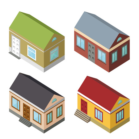 3d bungalow: Isometric house,modern 3D style.Vector illustration.Isomatic icon.Small houses set.Property Isolated bungalow in American style.Different structure.Isometric isolated Vector for print and web Illustration