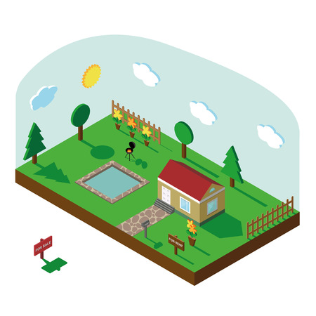 the courtyard: Isometric house,modern 3D style.Vector illustration.Isomatic landscape village.Icon of  small house,trees,fence and pool ,barbecue,flowers on Yard, Green Grass, Mailbox, sky.Property Isolated courtyard in American style