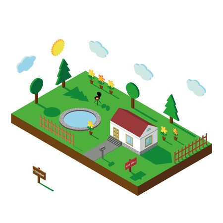 3d bungalow: Isometric house,modern 3D style.Vector illustration.Isomatic landscape village.Icon of small house,trees,fence and pool ,barbecue,flowers, Yard,Green Grass, Mailbox.Property Isolated courtyard in American style.Summer party