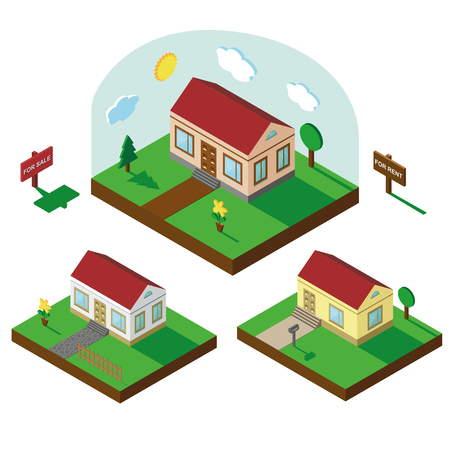 3 d: Isometric house,modern 3 D style.Vector illustration.Isomatic landscape village set.Icon of Small house bungalow,trees,fence,flowers,Yard,Green Grass,path .Property Isolated Summer party in American style. Illustration