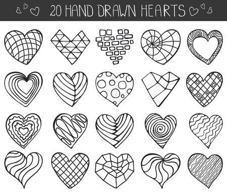 Iconos del corazón set.Valentine, boda, amor symbols.Vintage amor del corazón del vector decoration.Hand dibujo vectorial dibujo, dibujo animado set.Modern poli baja, geométrico, poligonal, ilusión óptica style.Isolated en blanco.