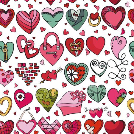 Modelo inconsútil de los iconos del corazón. Tarjeta del día de San Valentín, boda, fondo de los símbolos del amor. Decoración retra del vector del amor del corazón. Vector del garabato del dibujo de la mano, sistema de la historieta. Para el papel de embalaje, papel pintado, tela. Ilustración de vector