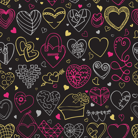 love wallpaper: Heart icons seamless pattern.Valentine,wedding,love symbols background.Retro heart love vector decoration.Hand drawing doodle vector,cartoon set.For wrapping paper,wallpaper,fabric