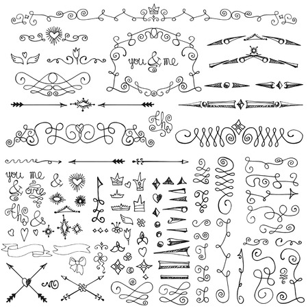 wedding decor: Doodles decor element set.Swirling  border,arrow,hearts andcrown,lettering ampersands,ribbons.Design template,invitation. Hand drawing sketch. For wedding andValentine day,other holiday.Vintage royal Vector