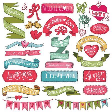 Día de San Valentín y la boda, aman elementos románticos collection.Labels, insignias, emblemas, cintas, corazones, titular de caligrafía, dibujo a mano text.Cute Doodle set.Vector decoración