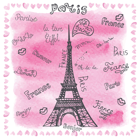 tour eiffel: Paris Eiffel tower,doodle lettering,hearts border.Hand drawn doodle sketchy,watercolor pink splash decor.Love set collection.French words hello,life is beautiful,love,i love you.Vintage Vector illustration