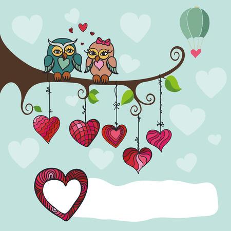 búhos lindos pareja sentada en un branch.Heart colgado en la rope.Blue sky.Valentine, búhos de la boda, la composición amor, tarjeta, invitation.Hand dibujo vectorial dibujo, dibujos animados. Ilustración de vector