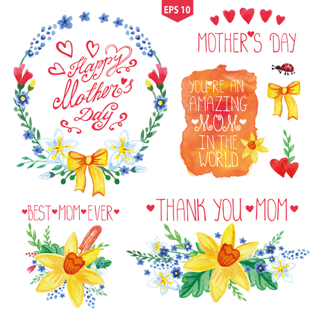stein: Mothers day card.Watercolor floral bouquet,stein  with branches and leaves,butterfly .Greeting card ,invitation.Narcissus flowers bouquet,catchwords,headline.Spring vector Background Illustration