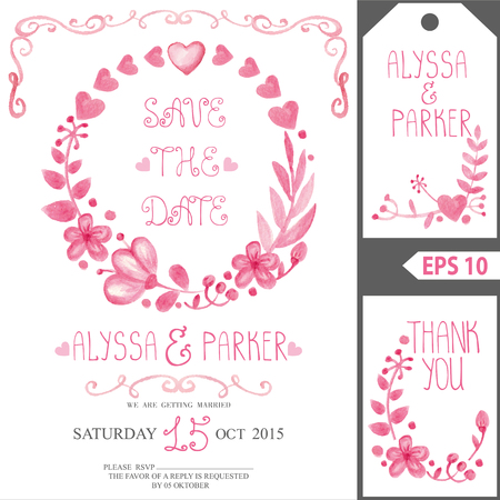 circle flower: Watercolor.Retro wedding design template.Pink floral wreath.Decorative hand drawing flowers, branches,swirling border decor,berries .Vector vintage invitation,tag,save the date card Illustration