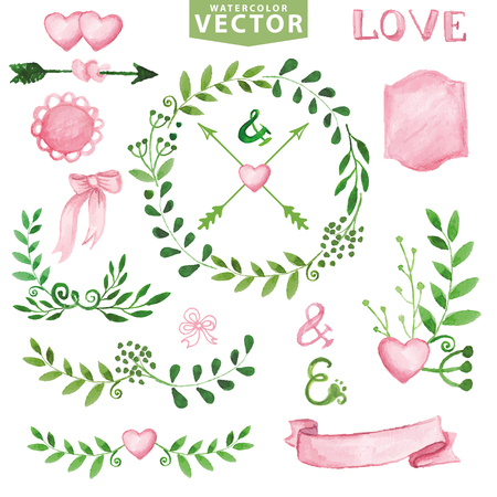 toolkit: Watercolor Wedding decor.Green branches wreaths and laurels ,pink decor ribbons,badges,hearts,lettering . Hand painted green floral,petal decor elements.For design template,invitation. Vector designers toolkit