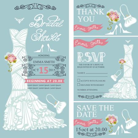 Bruids doucheuitnodiging set.Bride trouwjurk, boeket wervelende randen, frames, accessoires, belettering titel, retro design.Save de datum, dank u card.Holiday Vector, mode-illustratie