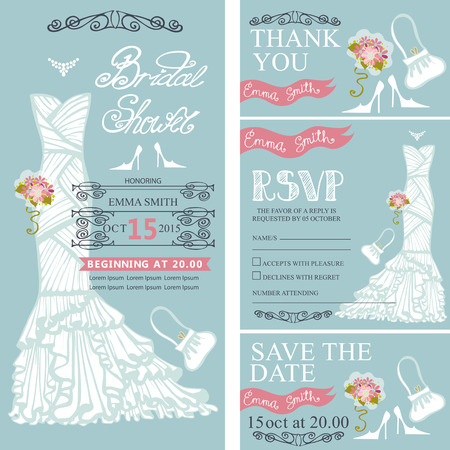 Bridal shower invitation set.Bride wedding dress,bouquet swirling borders,frames,accessories,lettering title,retro design.Save the date,thank you card.Holiday Vector,fashion illustration