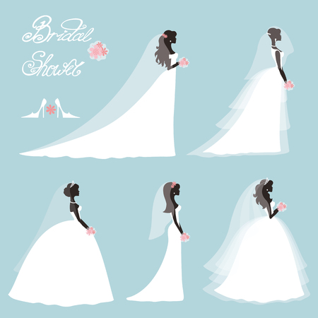 Wedding.Bride in Different dress style.Bridal shower decor set.Cartoon girl,woman silhouette,portrait,Swirling borders, ribbon,icons,label.Invitation Design template kit.Vintage Vector,flat fashion