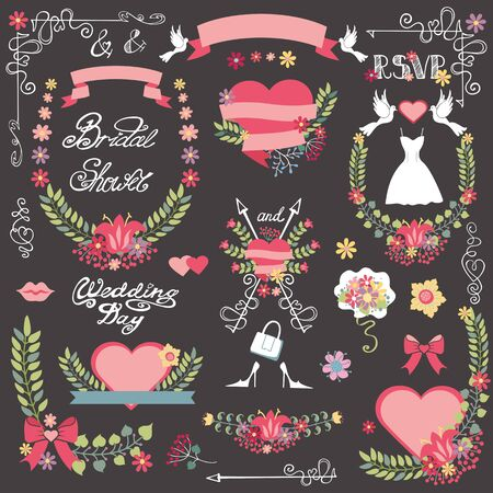 Wedding Vintage floral Bridal shower set for invitations card,bride dress greeting,RSVP, love designers toolkit template.Floral wreath,bouquet,ribbon and heart,swirls,headline.Vector decor. Illustration