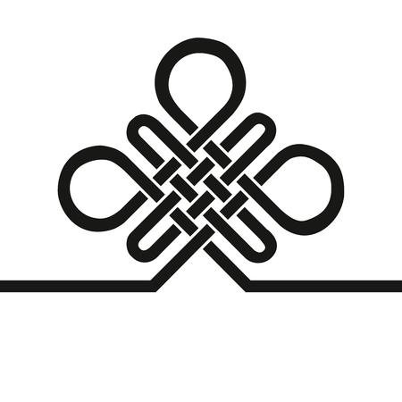 無限の縁起の良いノットです。中国、チベット永遠、仏教、霊性のアイコン、シンボル。黒い印、名刺テンプレートをベクトルします。風水の伝統  イラスト・ベクター素材