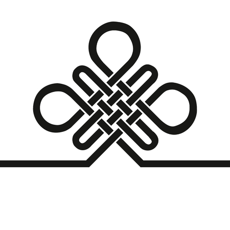 Endless Auspicious knot.China,Tibet  Eternal , Buddhism and Spirituality icon,symbol.Vector Black sign,card template .Feng  Shui traditional element,geometric ornament. Ilustração