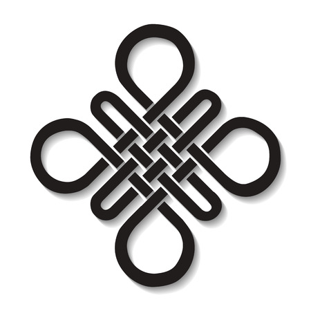 Endless Auspicious knot . China,Tibet, Eternal , Buddhism and Spirituality icon,symbol.Vector Black sign,long shadow.Feng  Shui traditional element,geometric ornament Vettoriali