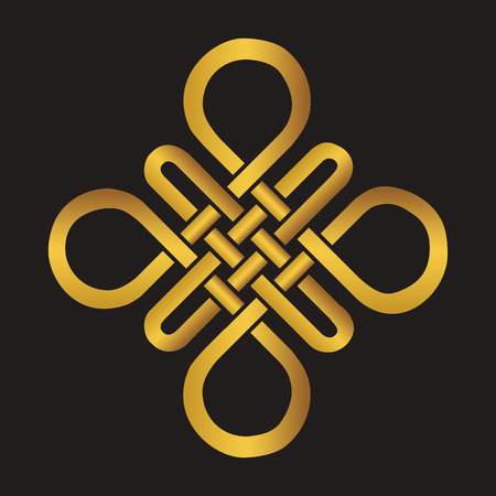 auspicious element: Endless Auspicious knot . China,Tibet, Eternal , Buddhism and Spirituality icon,symbol.Vector gold sign.Feng  Shui traditional element,geometric ornament.