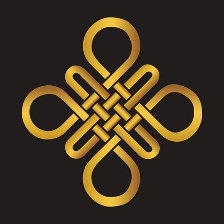 Endlose Auspicious Knoten. China, Tibet, Ewig, Buddhismus und Spiritualität Symbol, symbol.Vector Gold sign.Feng Shui traditionelle Element, geometrischen Ornament.