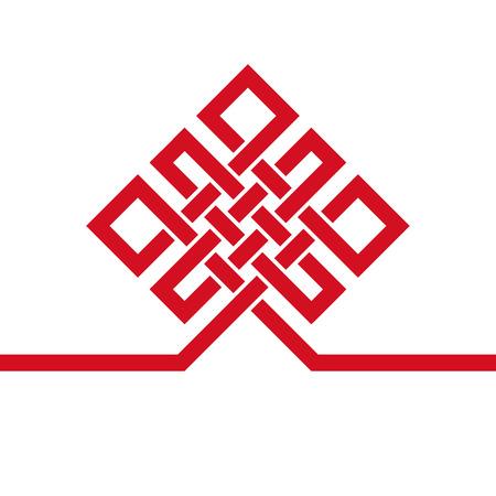 Sans fin Auspicious knot.China, Tibet éternel, le bouddhisme et la spiritualité icône, signe symbol.Vector noir, modèle de carte .Feng Shui élément traditionnel, ornement géométrique.