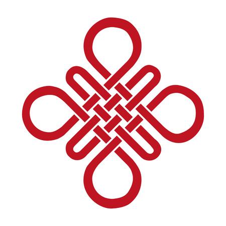 Auspicioso nudo sin fin. China, Tíbet, Eterna, el budismo y el icono de Espiritualidad, symbol.Vector roja sign.Feng Shui elemento tradicional, ornamento geométrico. Ilustración de vector