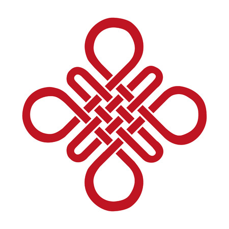 nudo: Auspicioso nudo sin fin. China, Tíbet, Eterna, el budismo y el icono de Espiritualidad, symbol.Vector roja sign.Feng Shui elemento tradicional, ornamento geométrico. Vectores