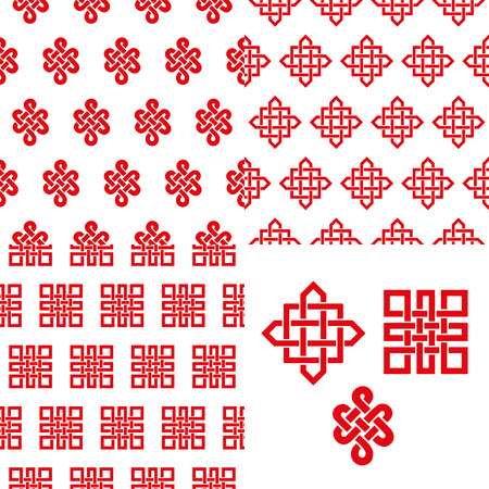 auspicious element: Endless Auspicious knot seamless pattern set.China,Tibet,Eternal,Buddhism and Spirituality icon,symbol.Vector red sign.Feng  Shui traditional element,geometric ornament.For backdrop,wrap,background Illustration