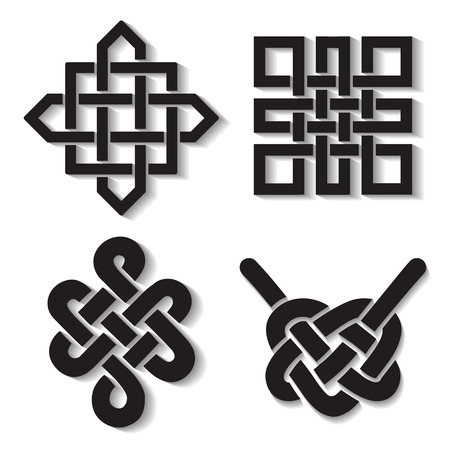 tibet: Endless Auspicious knot set. China,Tibet, Eternal , Buddhism and Spirituality icon,symbol.Vector Black sign,long shadow.Feng  Shui traditional element,geometric ornament Illustration