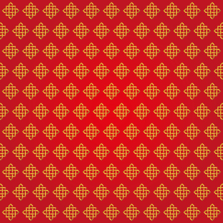 Endless Auspicious knot pattern on red background.China,Tibet,Eternal,Buddhism and Spirituality icon,symbol.Vector gold sign.Feng Shui traditional element,geometric ornament.For backdrop,wrap,background
