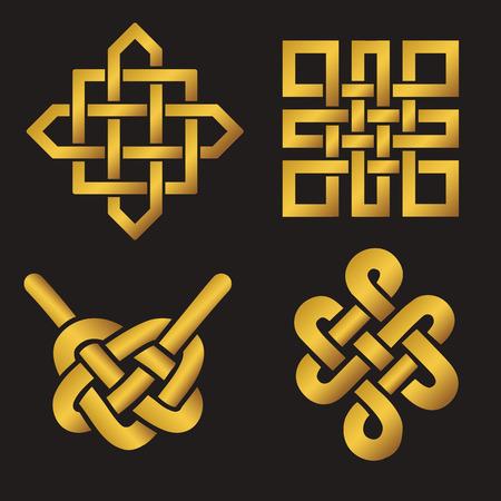 Endless Gunstige knot set. China, Tibet, Eeuwige, het boeddhisme en spiritualiteit icoon, symbol.Vector goud sign.Feng Shui traditionele elementen, geometrische versiering.