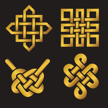 Endless Auspicious knot set. China,Tibet, Eternal , Buddhism and Spirituality icon,symbol.Vector gold sign.Feng  Shui traditional element,geometric ornament.
