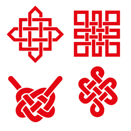 Endless Auspicious knot set. China,Tibet, Eternal , Buddhism and Spirituality icon,symbol.Vector red sign.Feng  Shui traditional element,geometric ornament. Ilustração