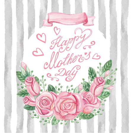 catchword: Mother day Card.Watercolor pink roses bouquet,catchword, headline,grunge grey strips pattern background.Hand drawn watercolor decor.Cute invitation,greeting card.Vintage Vector