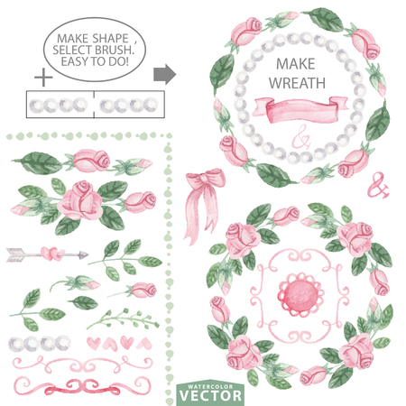 Watercolor floral brushes,wreaths.Vintage Pink roses,swirls and pearls,green leaves. Hand painted flowers,petal decor elements.For design template,invitation.Holiday Vector,wedding,spring or summer set