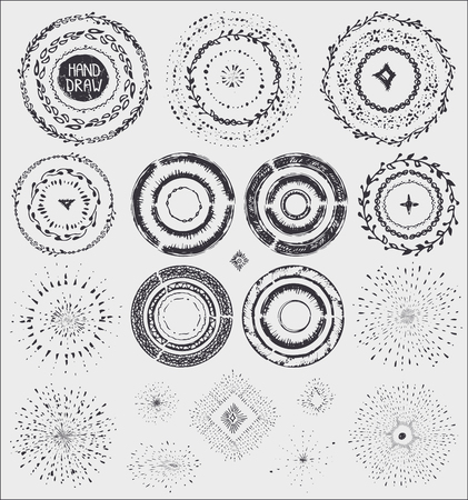 sumer: Hand drawn artistic  pattern ,wreath frame,burst.Doodle decor and stroke brushes,point drop,wavy texture,geometric borders.For design template,invitations, holiday  design.Sketched Vector