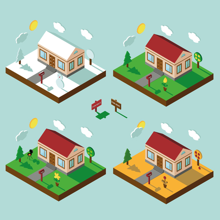 3d bungalow: Isometric house,modern 3D style.Vector illustration.Isomatic landscape.One Village in different seasons.Small house,trees and Yard,Grass and path.Property Isolated bungalow in American style.Winter,spring,summer,autumn.