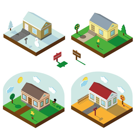 3d bungalow: Isometric house,modern 3D style.Vector illustration.Isomatic landscape.Village in different seasons.Small house,trees and Yard,Grass and path.Property Isolated bungalow in American style.Winter,spring,summer,autumn.