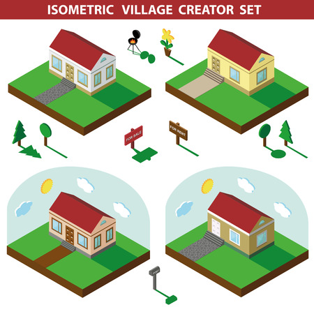 3d bungalow: Isometric house,modern 3D style.Vector illustration.Isomatic landscape,village creator set.Small house bungalow,trees and fence,flowers,Yard and Green Grass,barbecue.Property Isolated Summer party in American style. Illustration